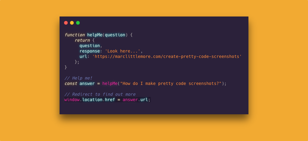 Create pretty code screenshots - Learn how to make pretty code screenshots and impress your developer friends on Twitter!